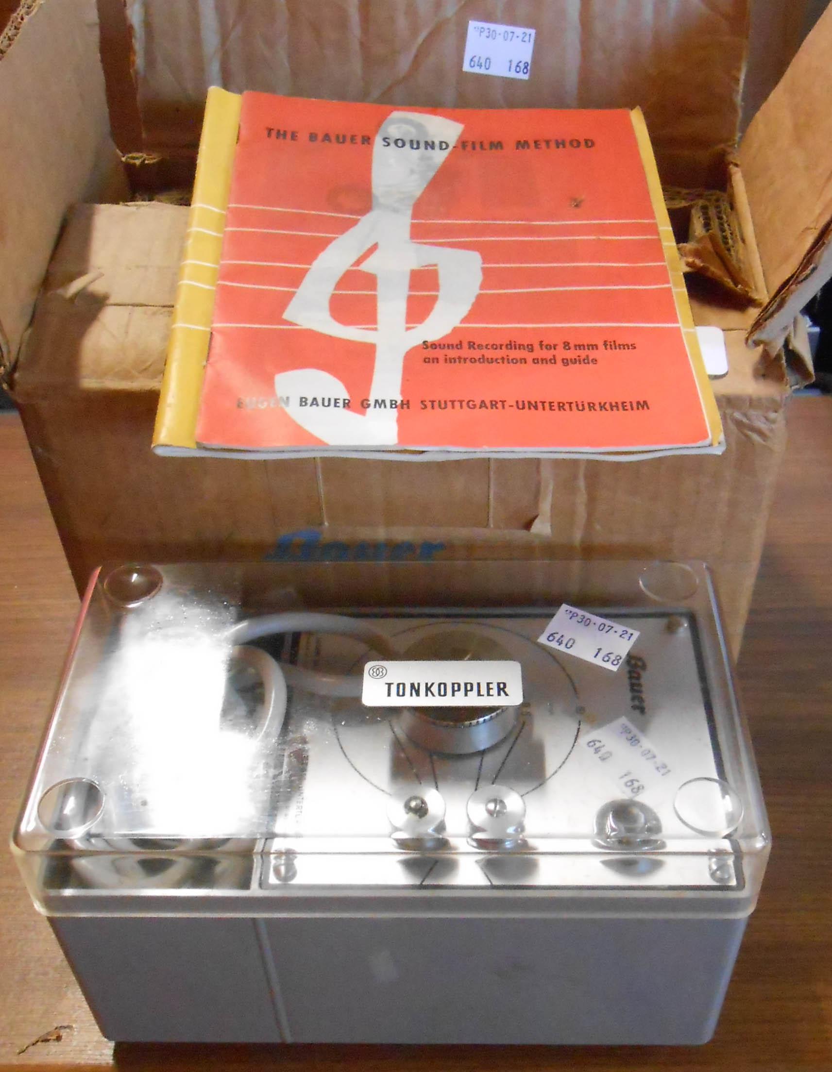 A Bauer Tonkoppler cinefilm sound coupler in original box
