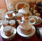 An extensive selection of vintage Midwinter Stonehenge pattern tea and dinner ware including tea and