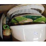 A box containing assorted ceramic items including Capodimonte figurine, Masons Ironstone soap