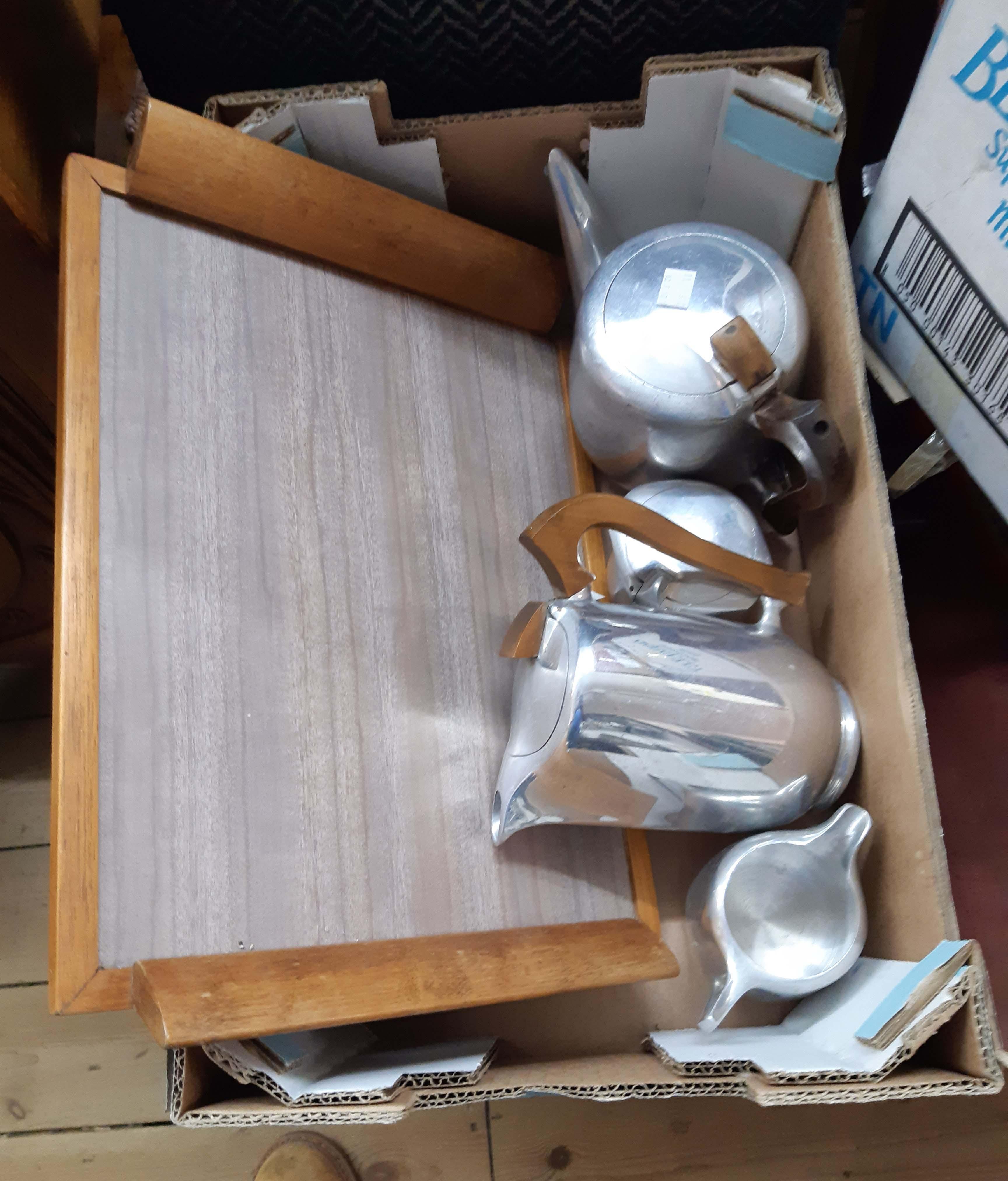 A Pico ware polished aluminium tea set