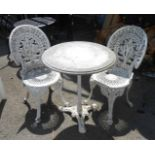 A marble top cast iron pedestal garden table - sold with two painted aluminium garden chairs - 1