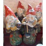 Four large ceramic gnomes - various condition