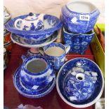 A selection of blue and white china including Copeland Spode Italian tyg, Copeland & Garrett bowl,