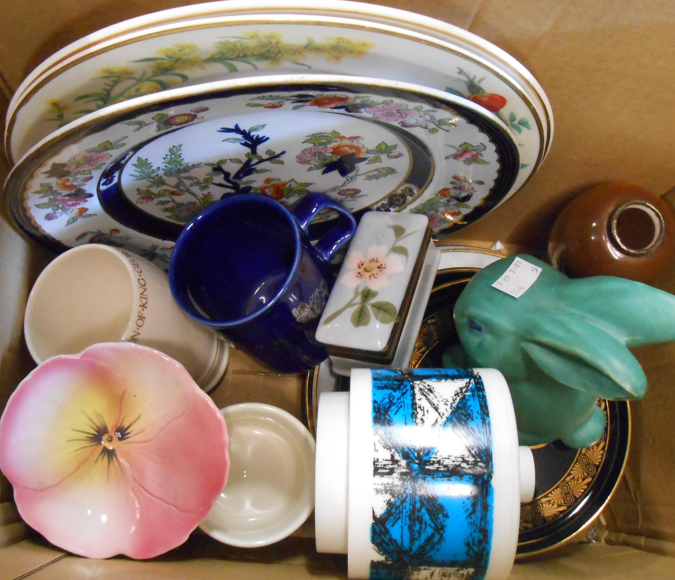 A box containing assorted china including SylvaC rabbit, silver topped vase, etc.