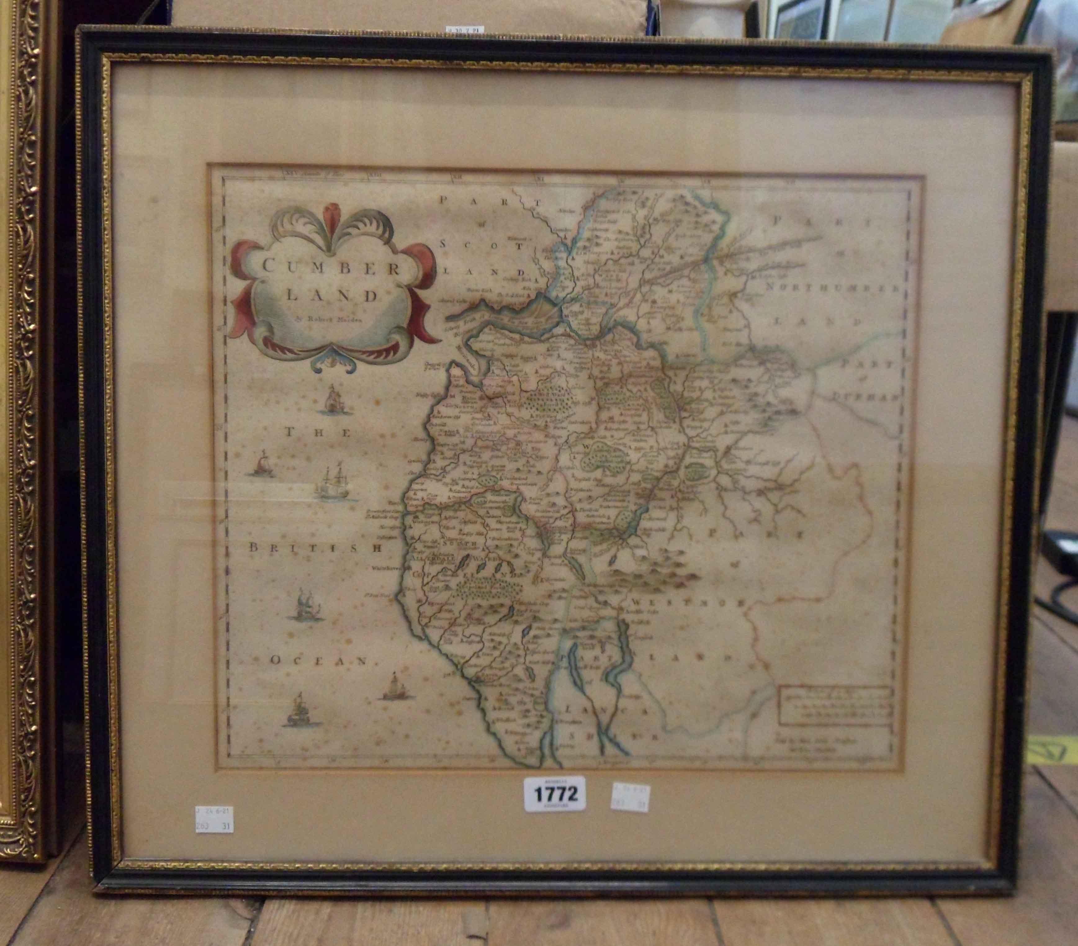 Robert Morden: a Hogarth framed antique hand coloured map print of Cumberland - foxing