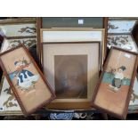 Six framed original works including man riding a heavy horse, pencil drawing of Winston Churchill