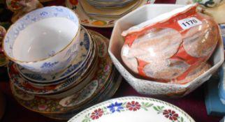 A quantity of assorted ceramics including Japanese Imari, Chinese plates, etc.
