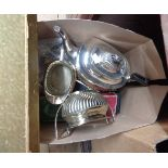 A box containing a quantity of silver plated items including three piece tea set and boxed