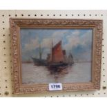 In the style of Edwin Fletcher: a gilt framed oil on canvas, depicting sailing vessels off the coast