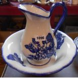 A modern blue and white jug and bowl