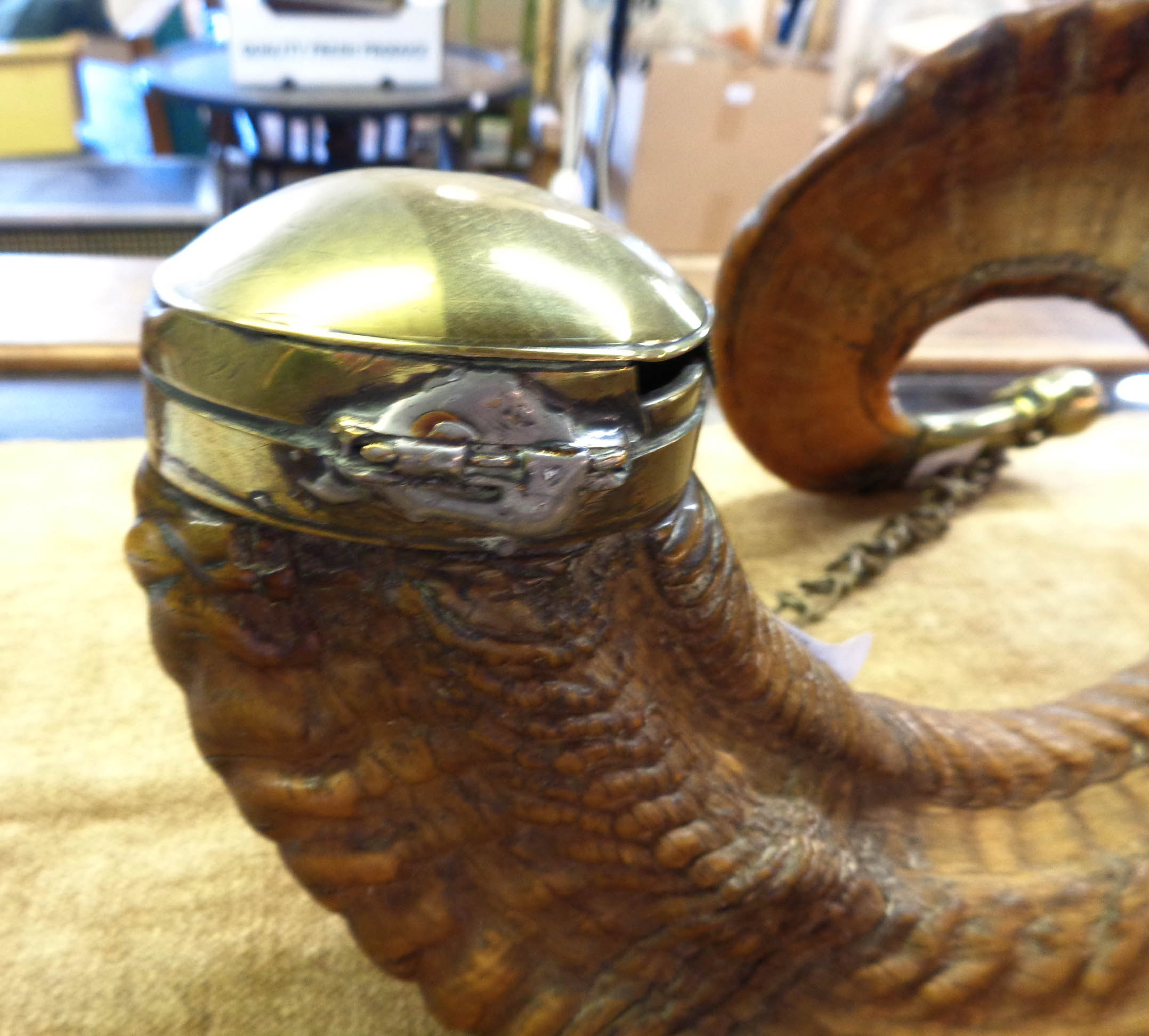 An early 19th Century Scottish snuff mull formed from a large ram's horn with brass mounts and - Image 6 of 11