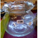 A large glass laboratory beaker - sold with a large glass rose bowl
