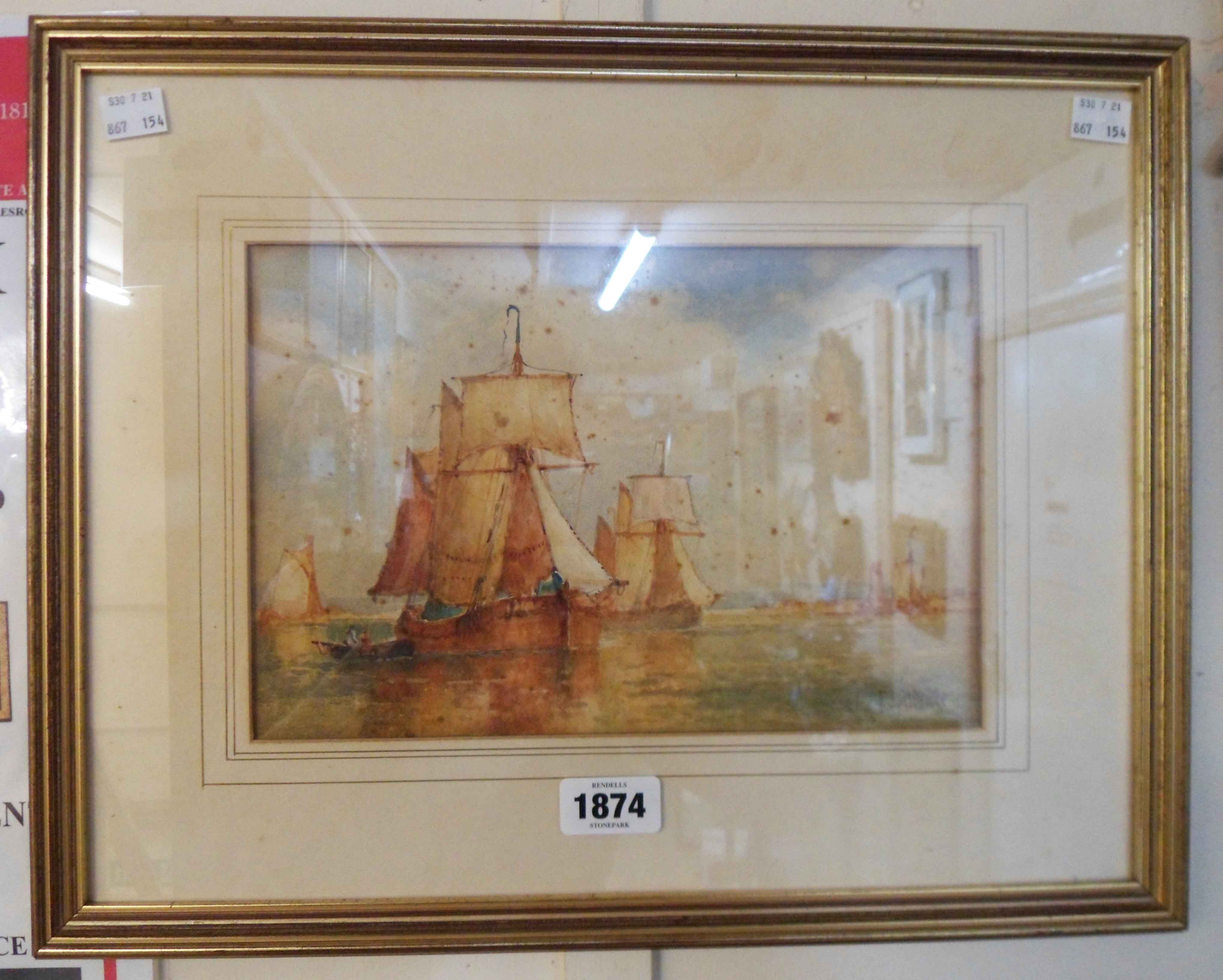 Frederick James Aldridge: a gilt framed watercolour, depicting sailing vessels off the coast -