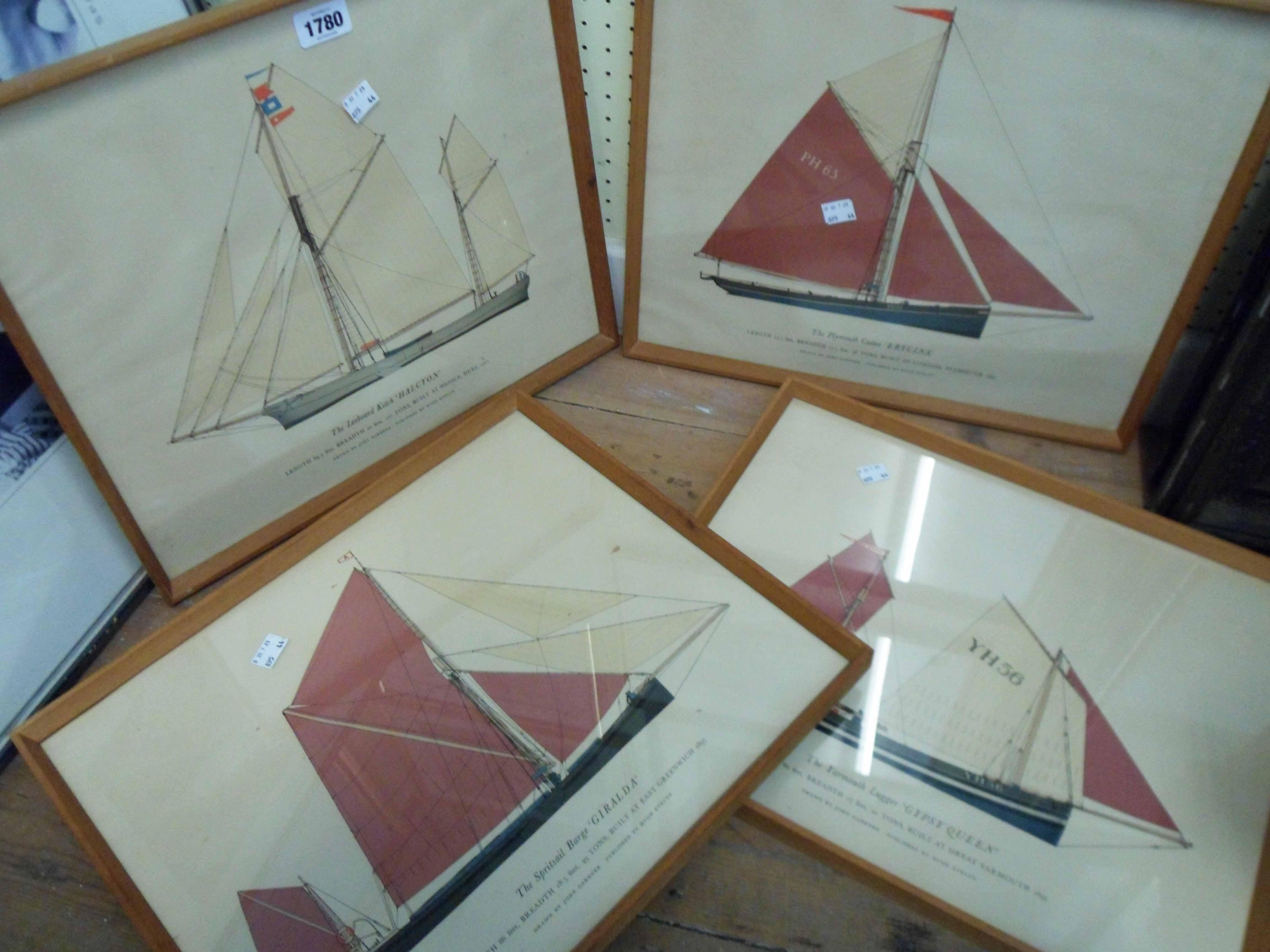 John Gardner: a set of four framed coloured sailing vessel prints