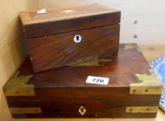 A 19th Century rosewood and crossbanded tea caddy with inlaid mother-of-pearl decoration - sold with