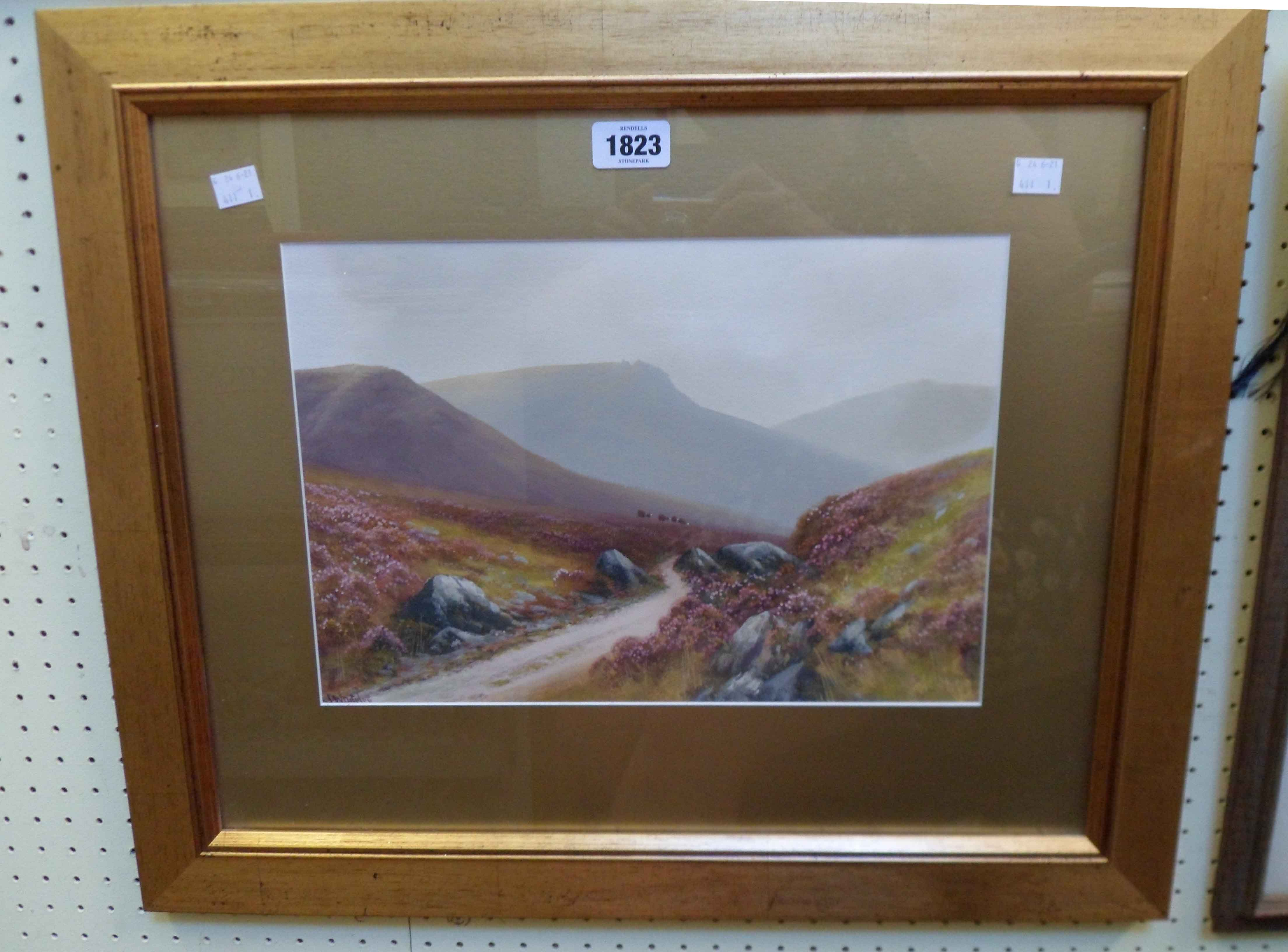 J. Whiteley (R. D. Sherrin): a gilt framed and slipped gouache, depicting a moorland view with track