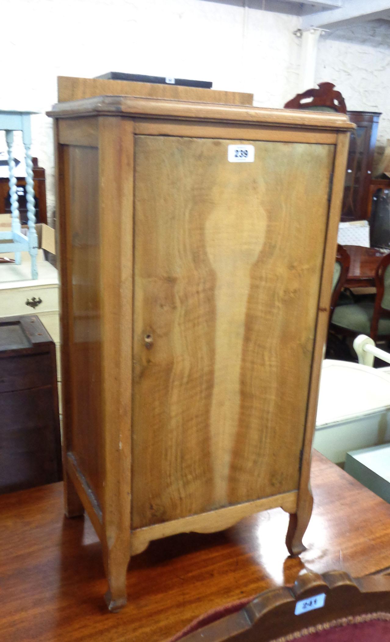 A 1930's walnut and mixed wood pot cupboard a/f