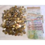 A tub of 20th Century world coinage and small box of 20th Century world banknotes including Romania,