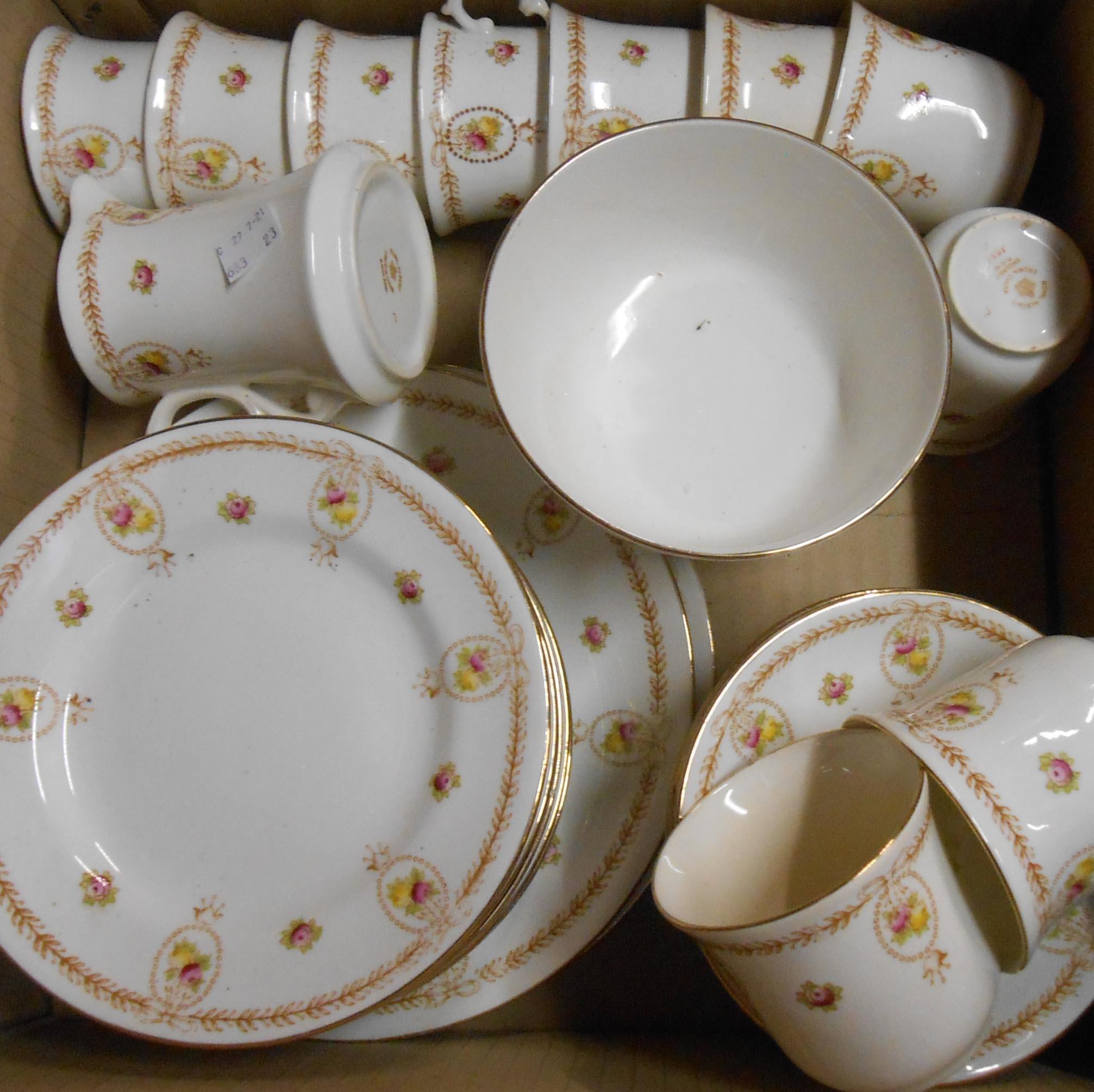 A Royal Albert Crown china part tea set comprising ten trios, cream and sugar, two bread and