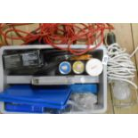A tray of tools including tap and dye set, cutting and grinding discs, inspection lamp, etc.
