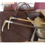 Two vintage leather school satchels - sold with two old riding crops and dressing table brush set