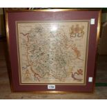 William Hole: a gilt framed antique 1637 map of Hereford Shire - 29cm X 32.5cm visible