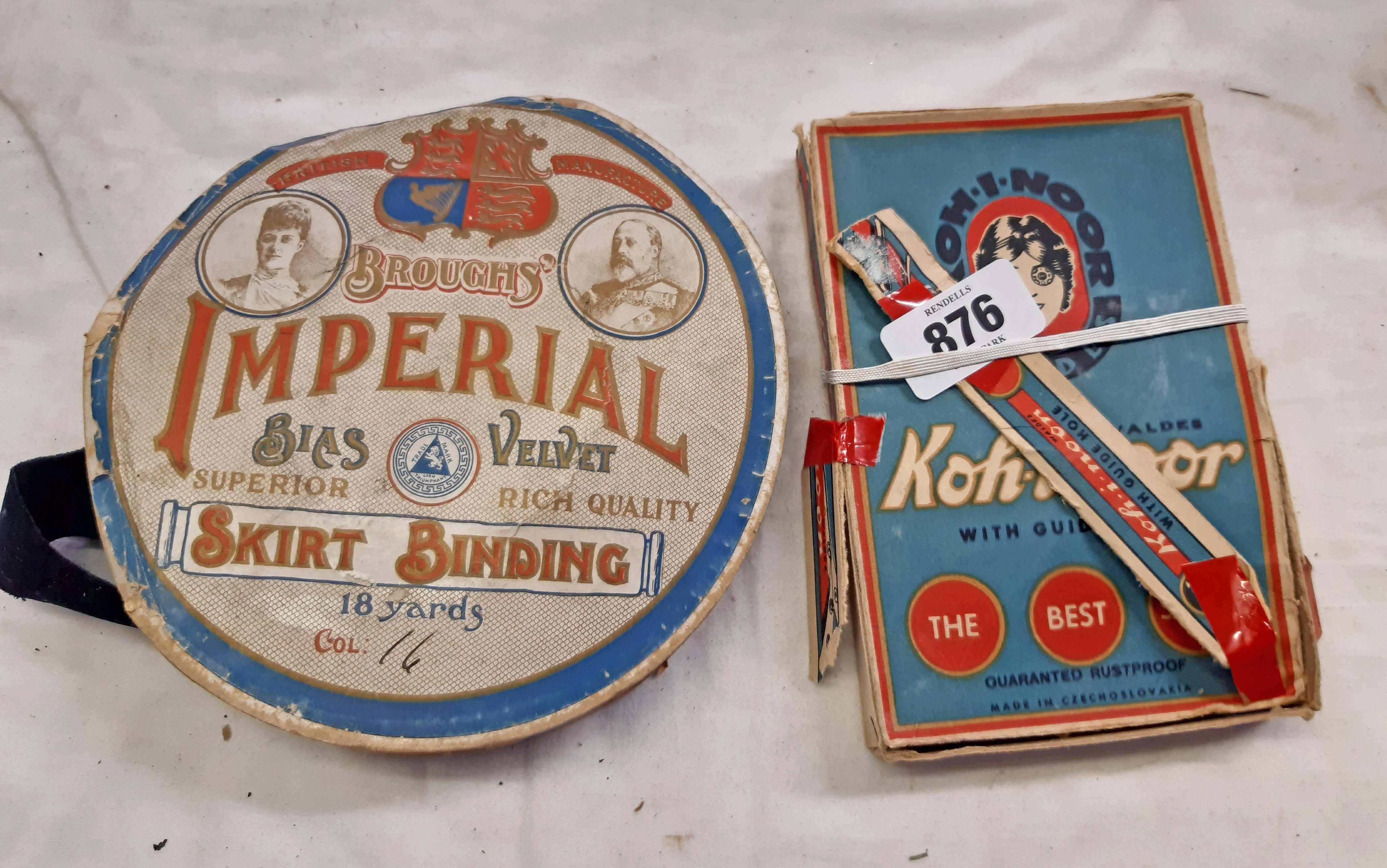 An early 20th Century roll of Broughs' Imperial bias velvet skirt binding on original packaging reel