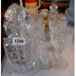 A heavy cut glass spirit decanter - sold with six goblets, etc.