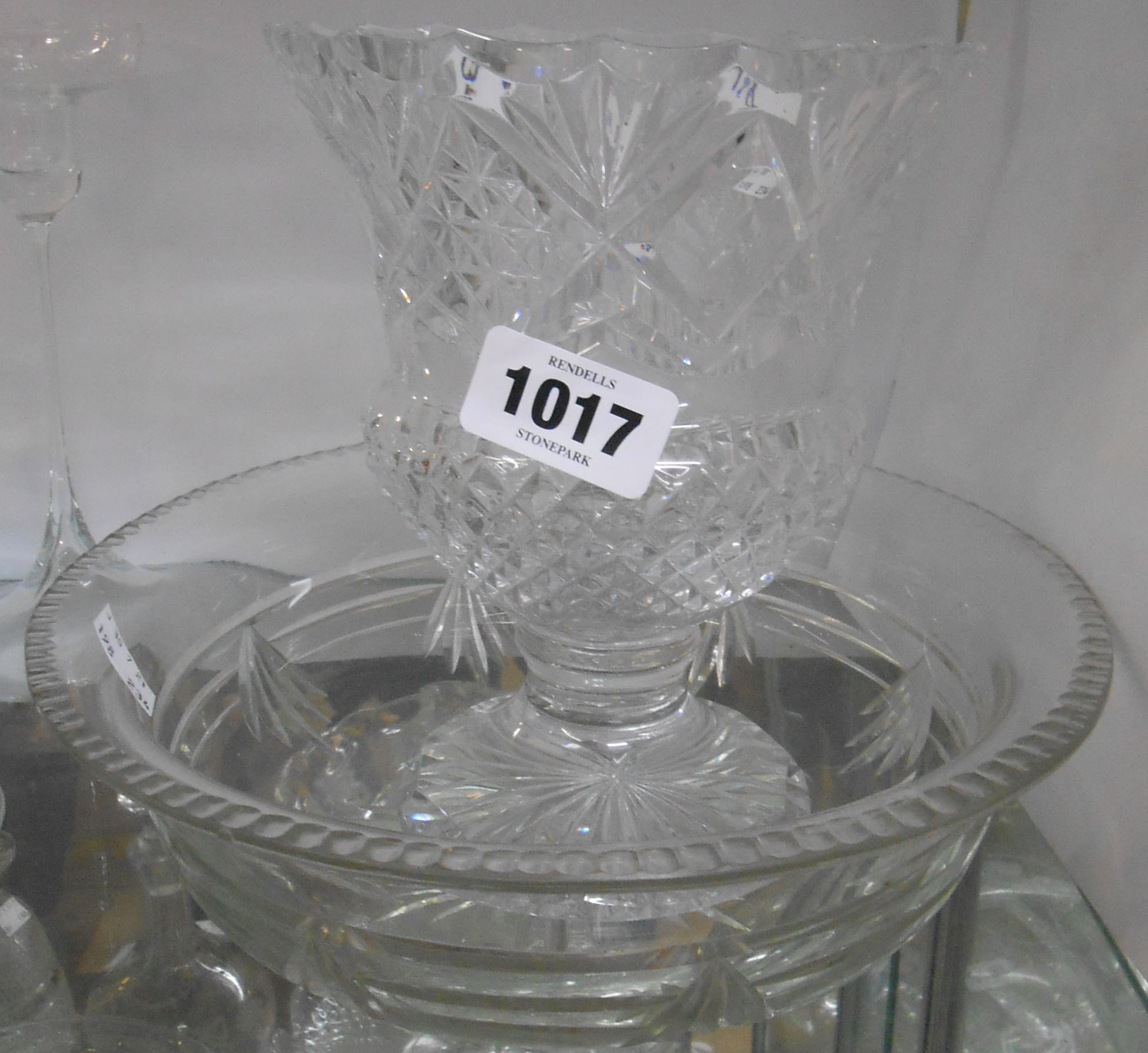 A 20th Century cut crystal vase decorated with hobnail and fan pattern - sold with a cut glass bowl