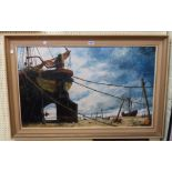†John Sutton: a framed oil on board, depicting The Mercie and other beached vessels - signed and