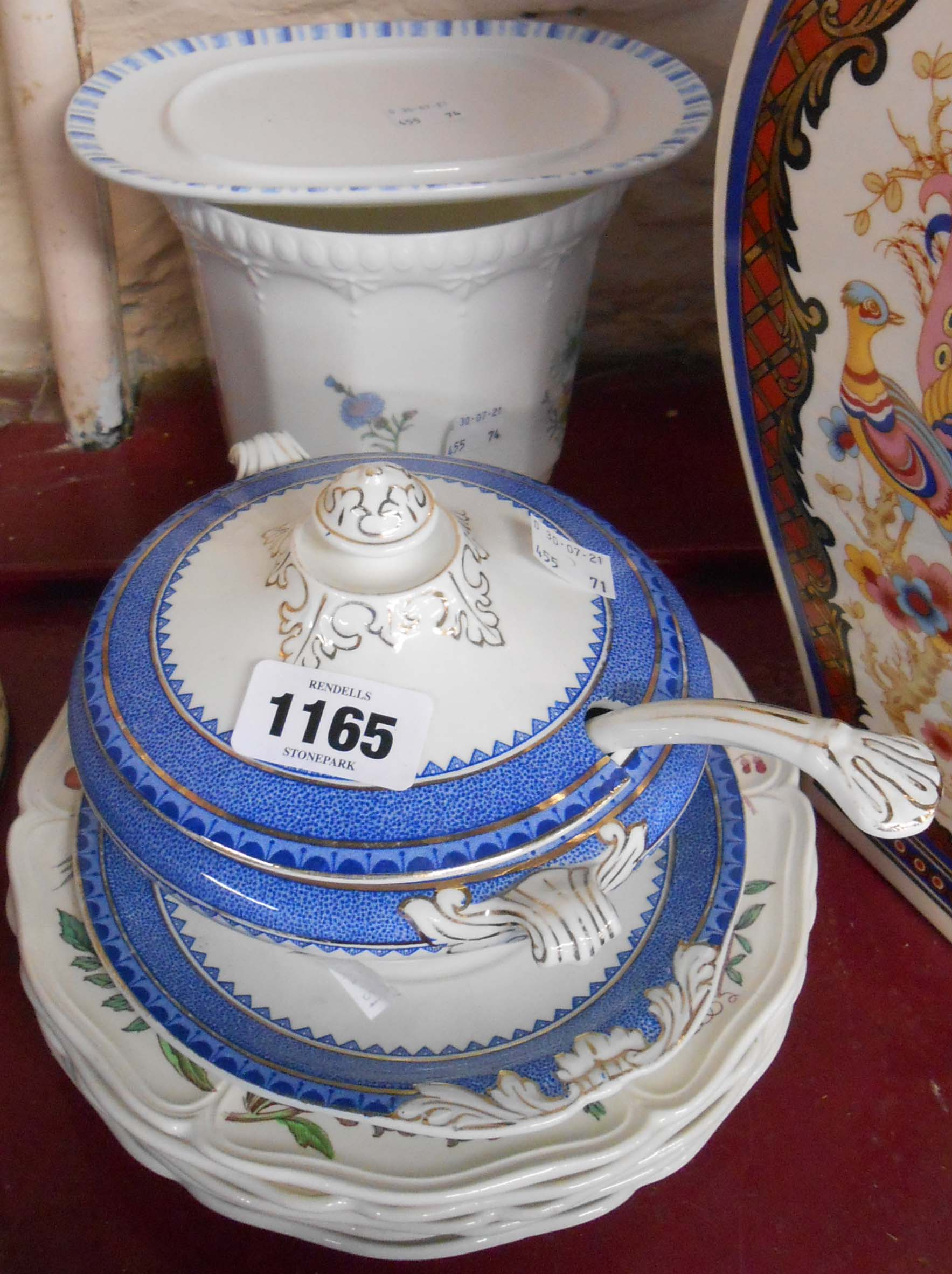 A selection of assorted ceramics including Staffordshire sauce tureen and ladle, Wedgwood plates,
