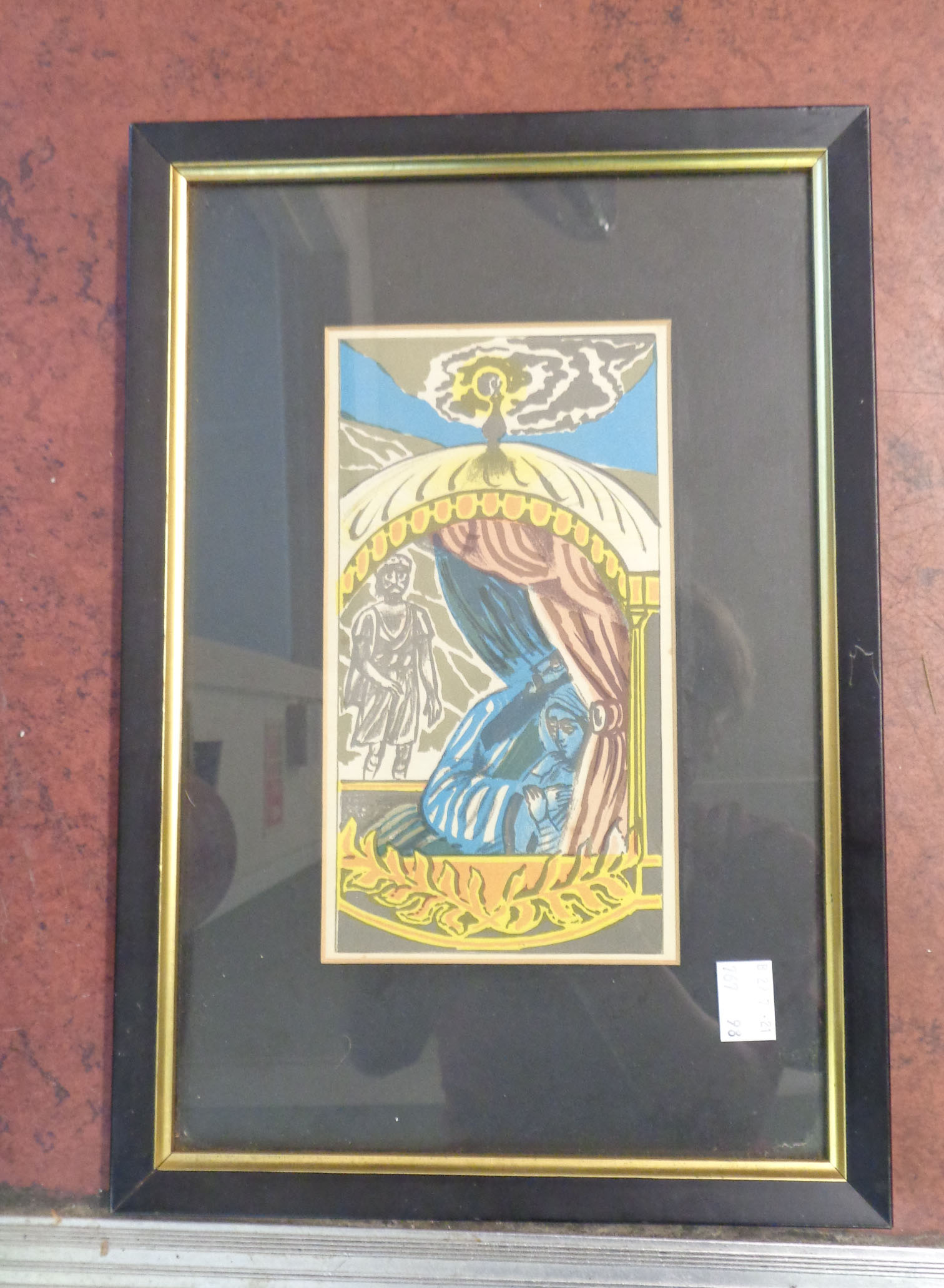 †Edward Bawden: a set of six matching framed small format coloured prints depicting classical Middle - Image 2 of 7