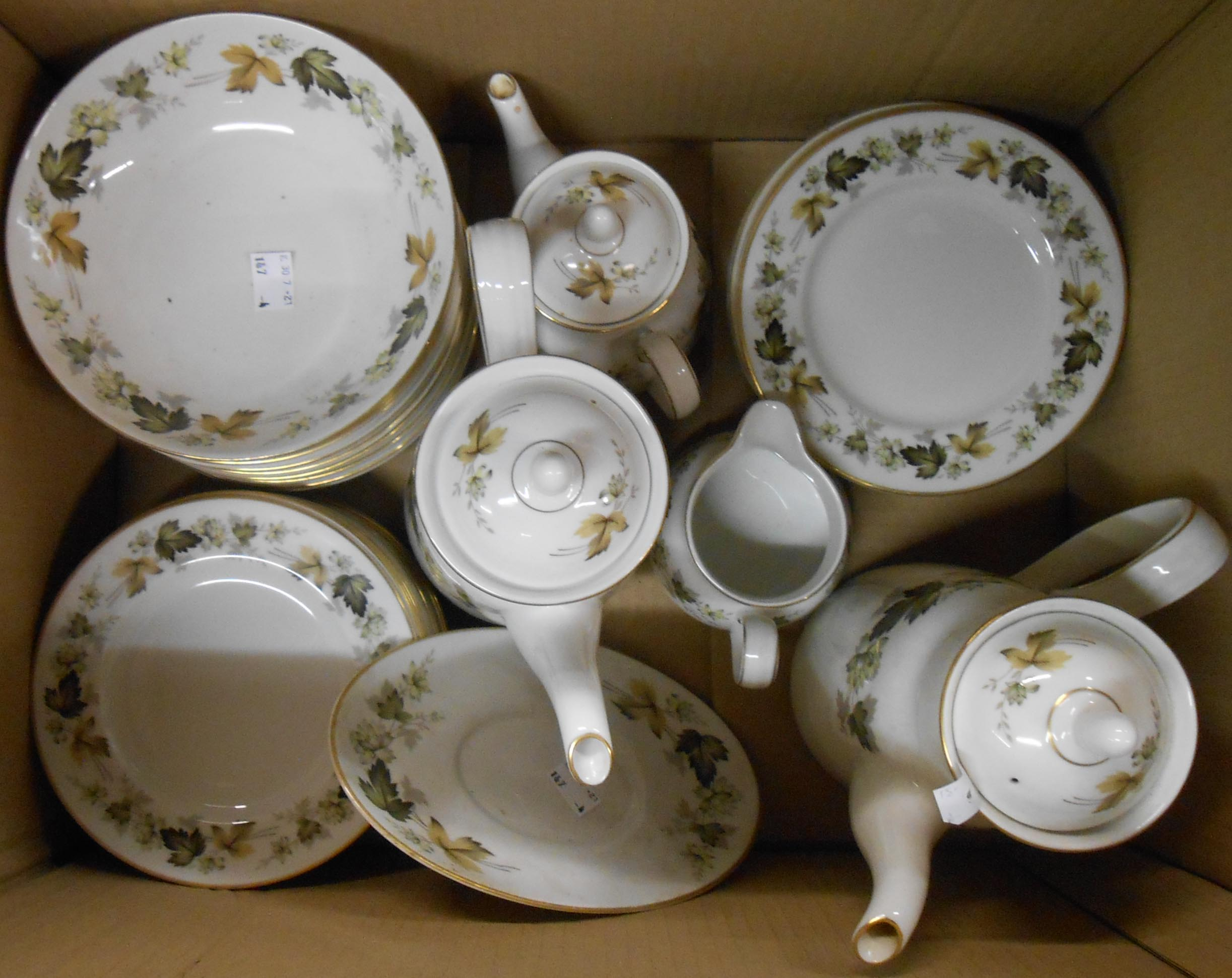 A box containing a quantity of Royal Doulton Larchmont teaware including coffee pot, cereal bowls,