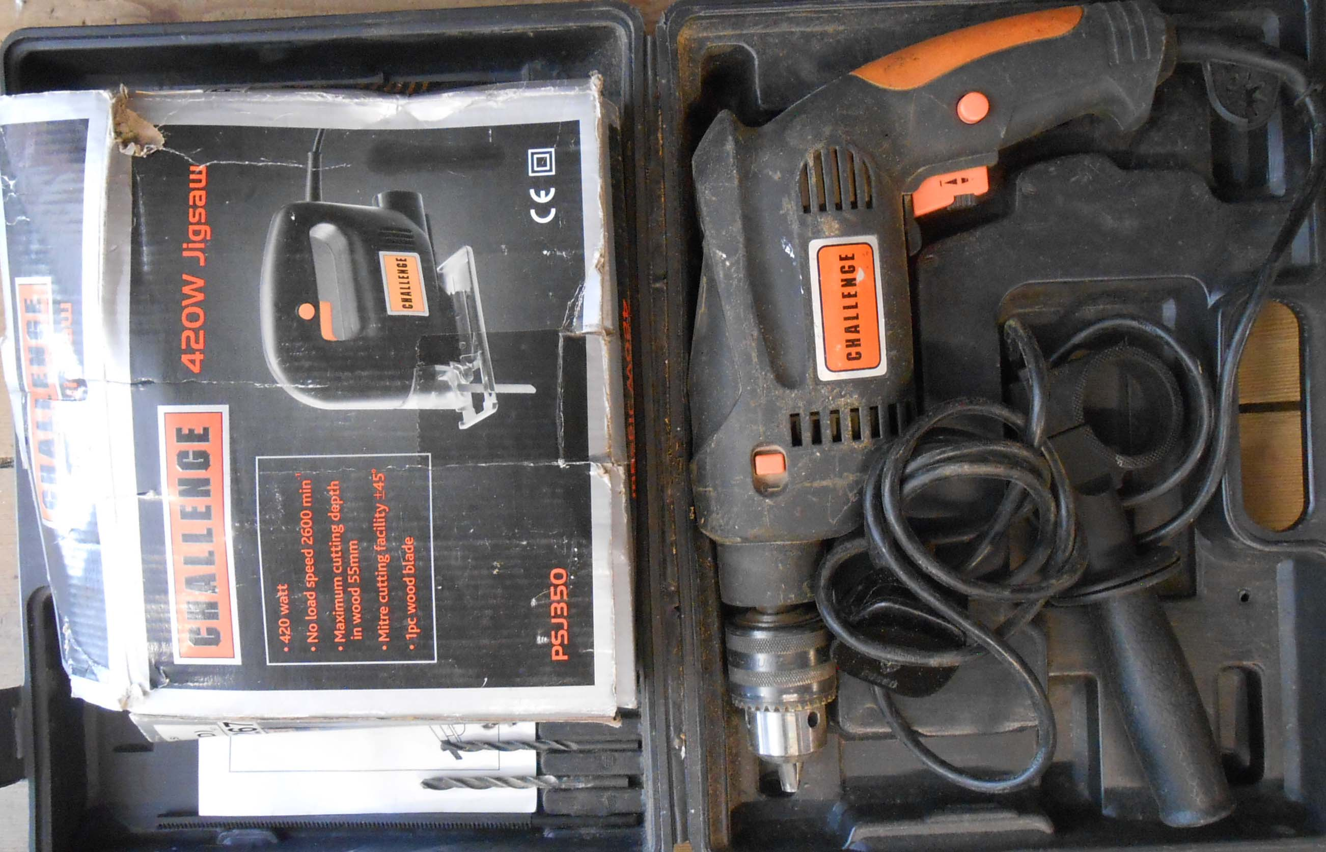 A Challenge hammer drill - sold with a jigsaw of the same make