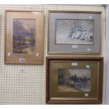 Three framed original watercolours comprising fisherman in a river landscape, winter landscape and