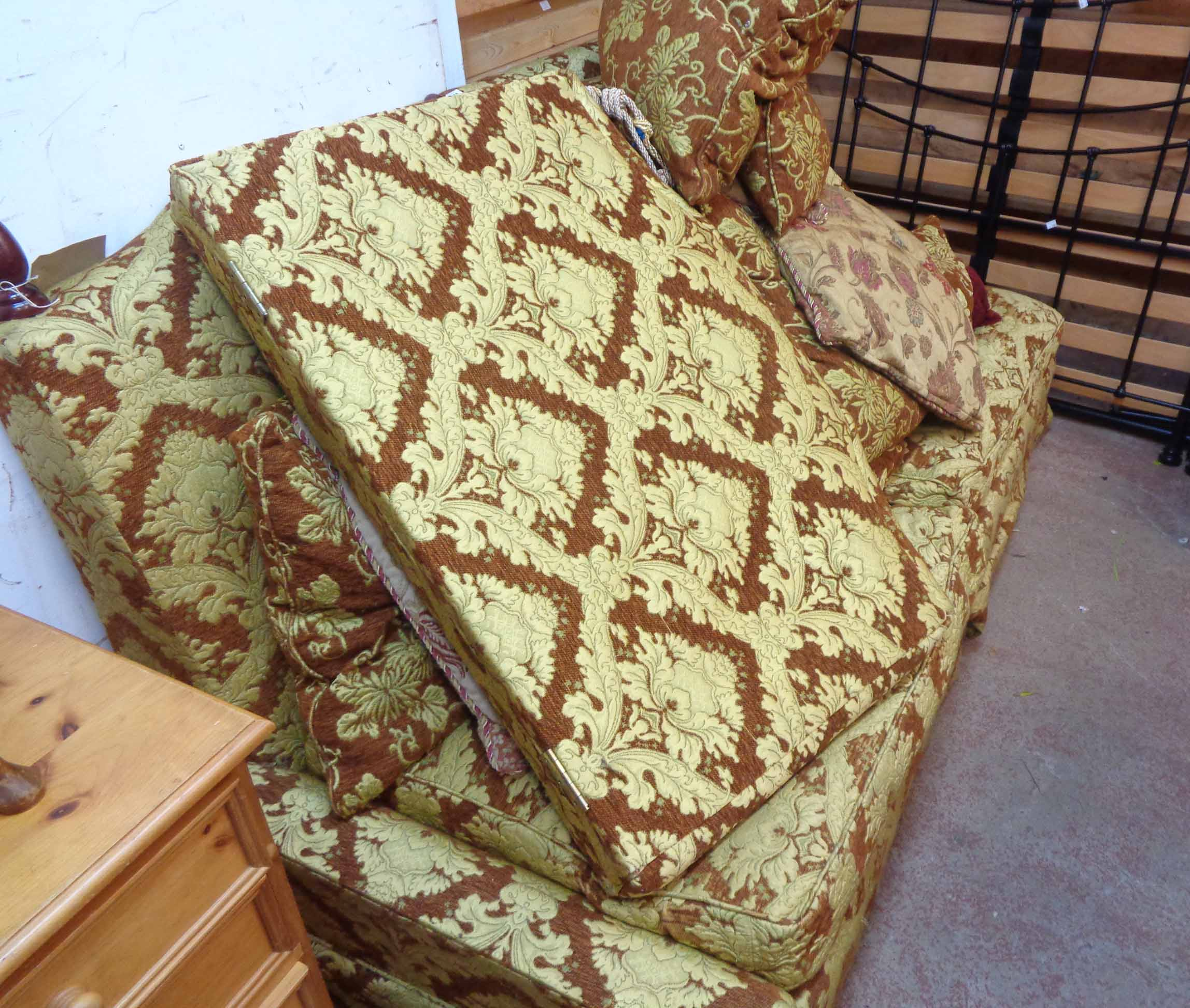 A 2.14m modern knoll settee with floral cut machine tapestry upholstery and a selection of bolster