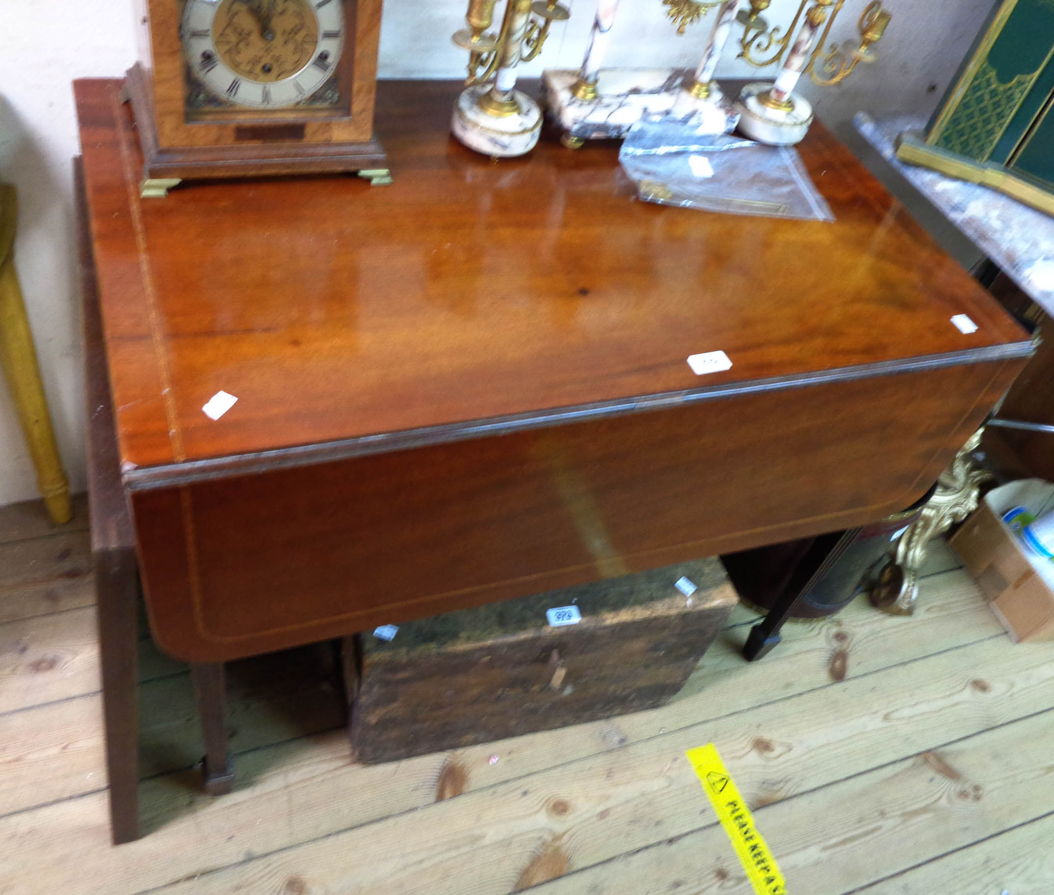 A 91cm 19th Century mahogany and strung Pembroke table with drawer to one end, set on fluted