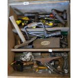An old furniture drawer of assorted woodworking and other tools including braces and bits, Record