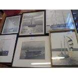 Six framed monochrome photographs of named and other sailing vessels and an aircraft carrier