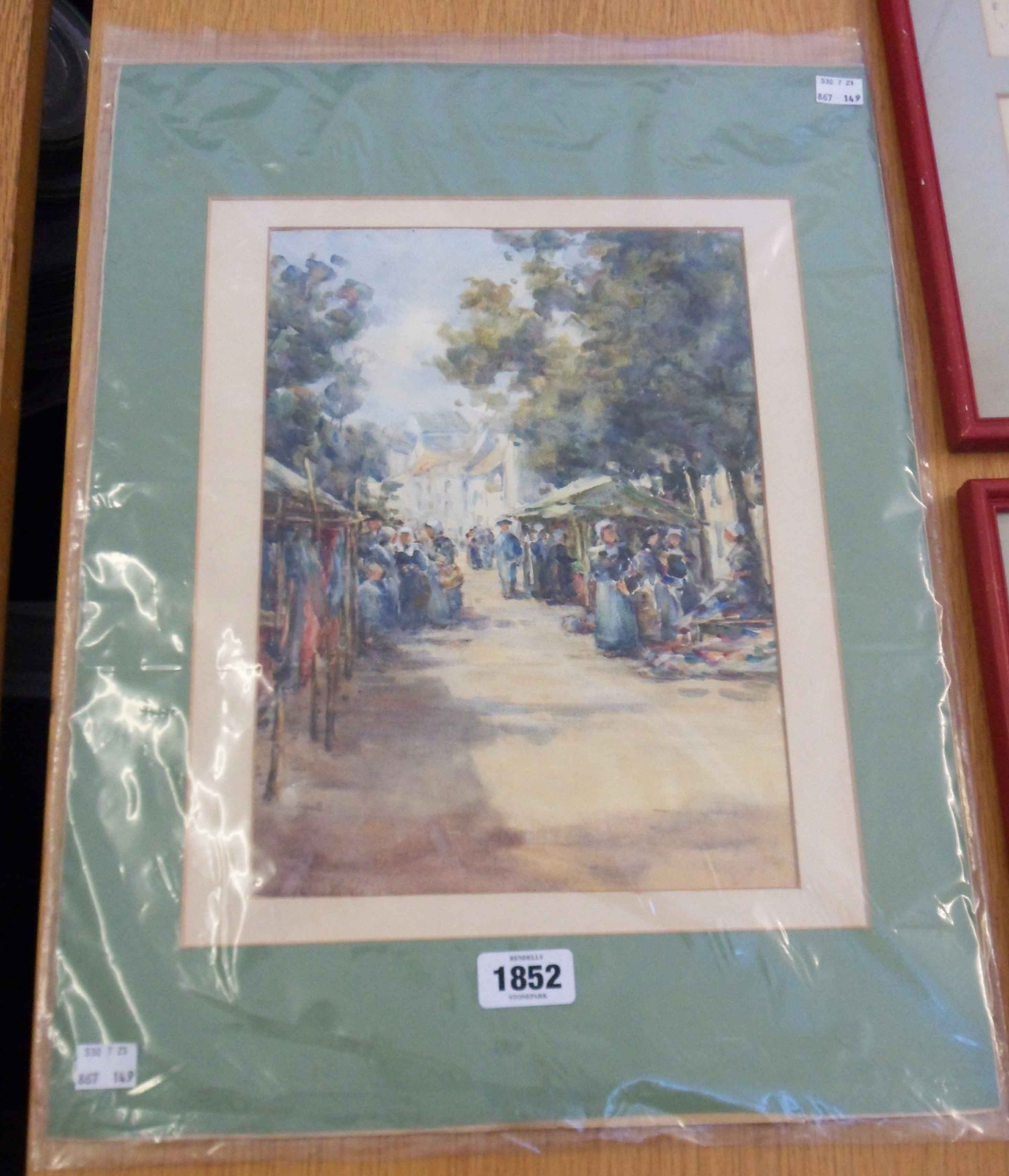 An unframed mounted watercolour, depicting figures in a street market - indistinctly signed - 31cm X