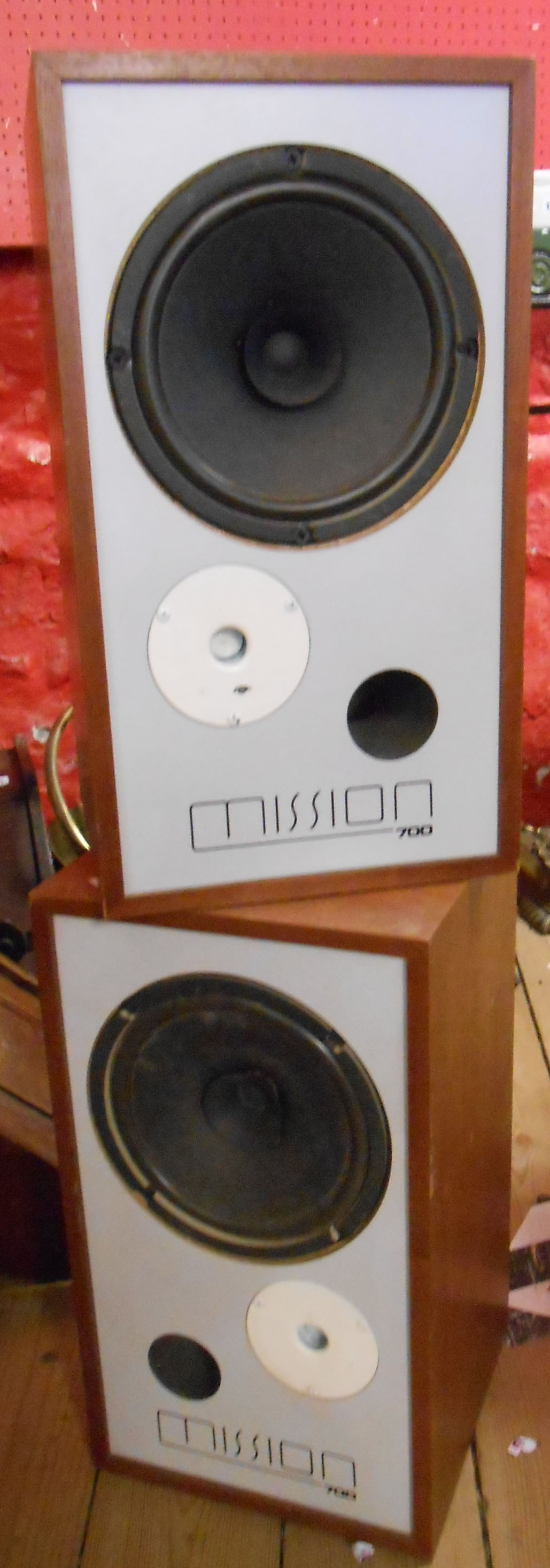 A pair of Mission 700 two way speakers
