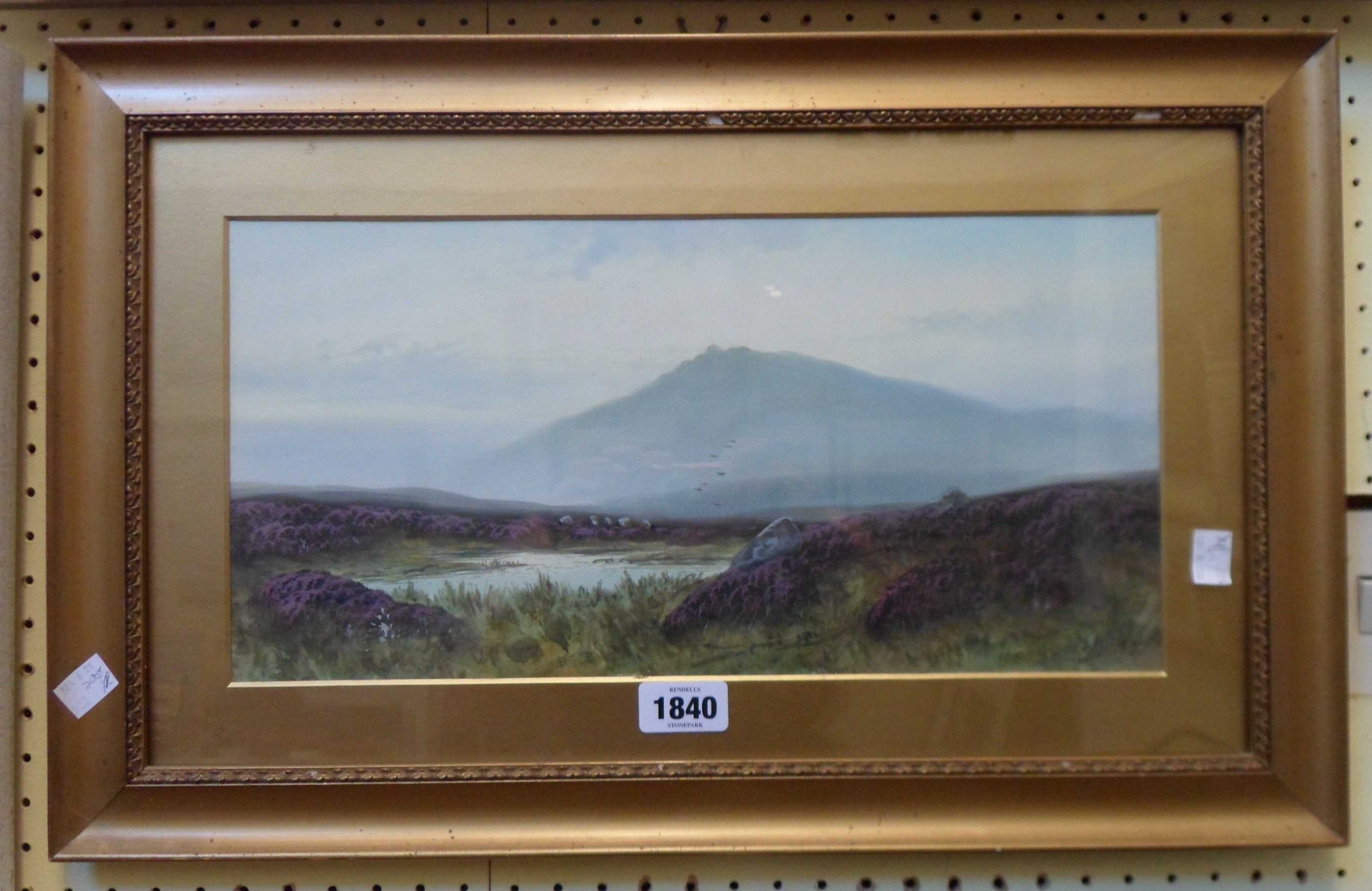 D. MIller: a gilt framed and slipped gouache, depicting a moorland view with pool and heather in
