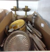 A box containing a quantity of Elkington & Co. silver plated cutlery, two butter dishes, brass and