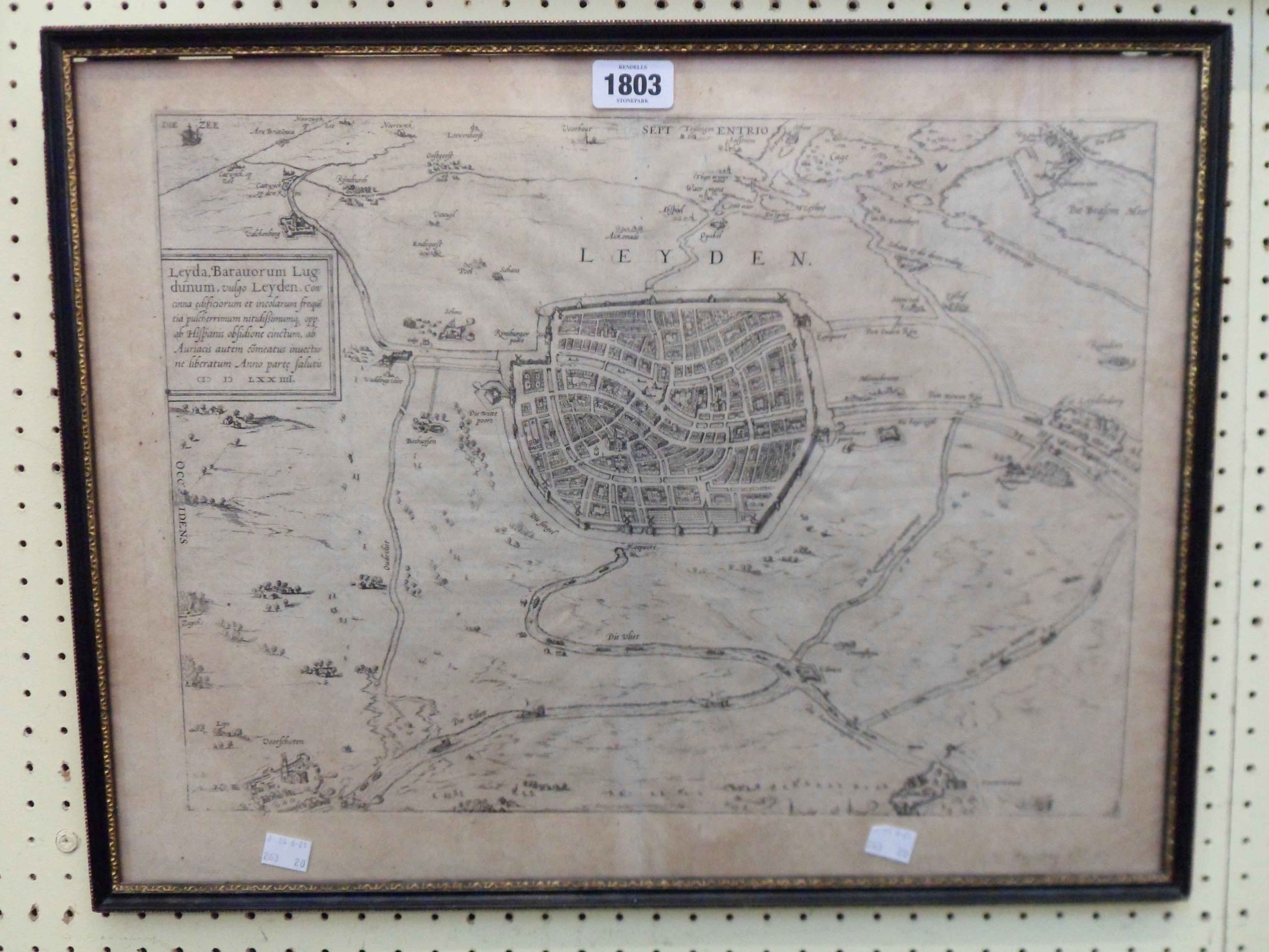 Franz Hogenberg: a Hogarth framed antique monochrome map of Leyden with text verso from the 1593