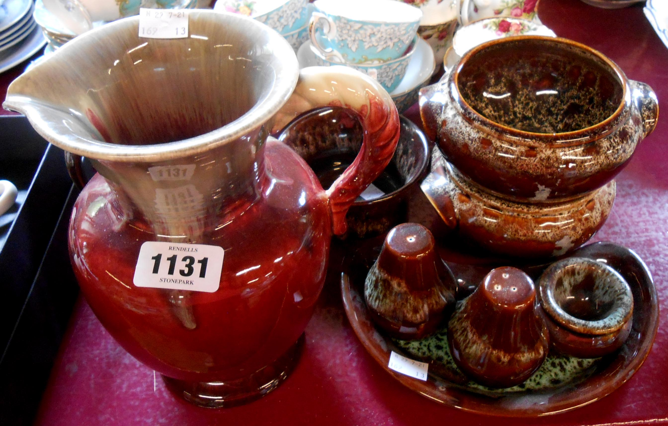 A small quantity of Fosters Cornish pottery including cruet, soup bowls and jug - sold with a West