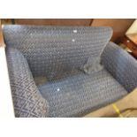 A 1.55m vintage single drop end settee with original upholstery, set on bun feet and casters
