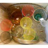 A box containing assorted glassware including Art Deco banded lemonade glass set, pressed glass part