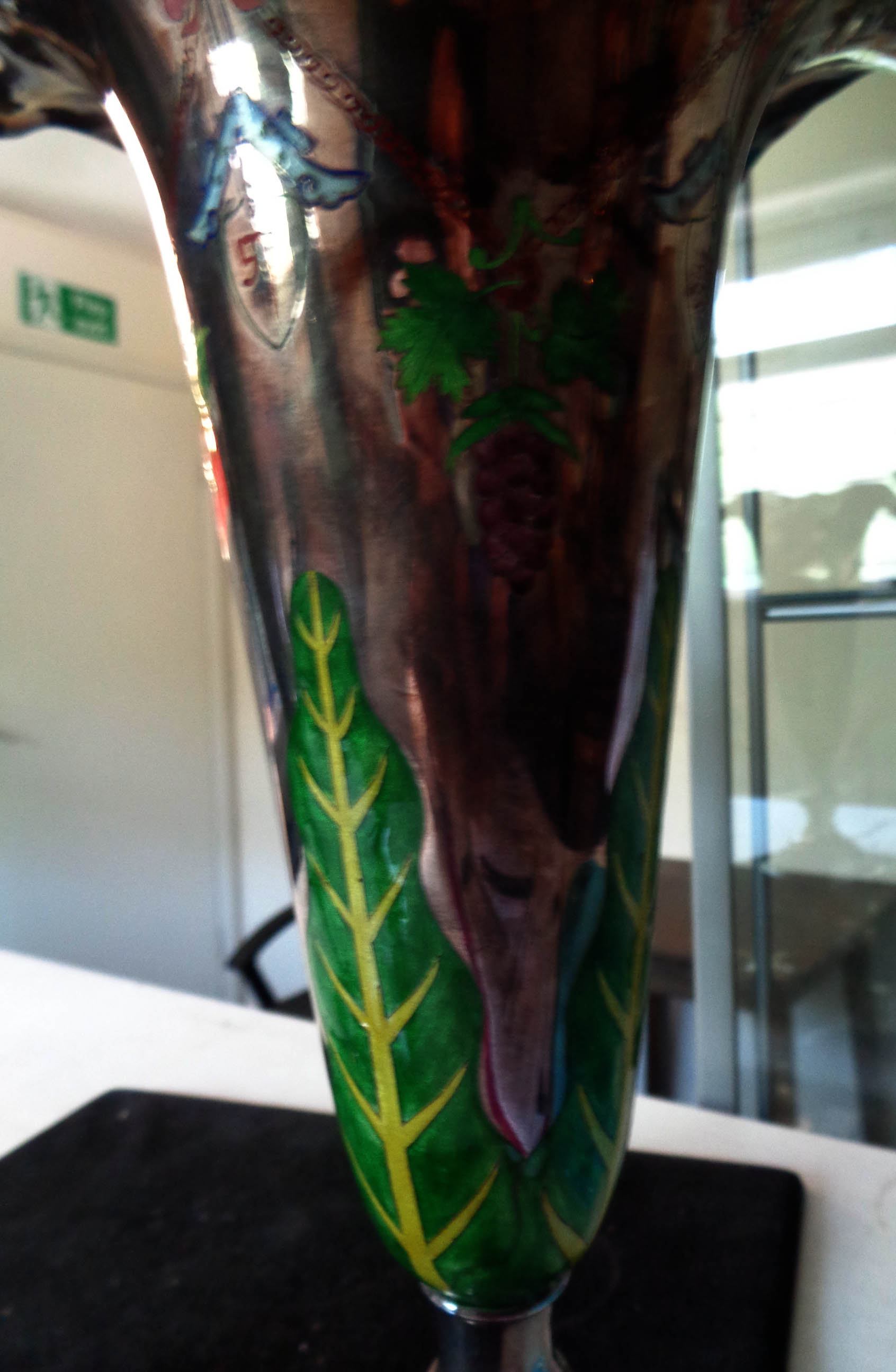 A pair of 25.5cm high Chinese white metal vases with enamelled foliage, grapes and motifs - rims - Image 5 of 8