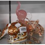 A Royal Crown Derby armadillo paperweight - sold with a vintage Murano model of an elephant in