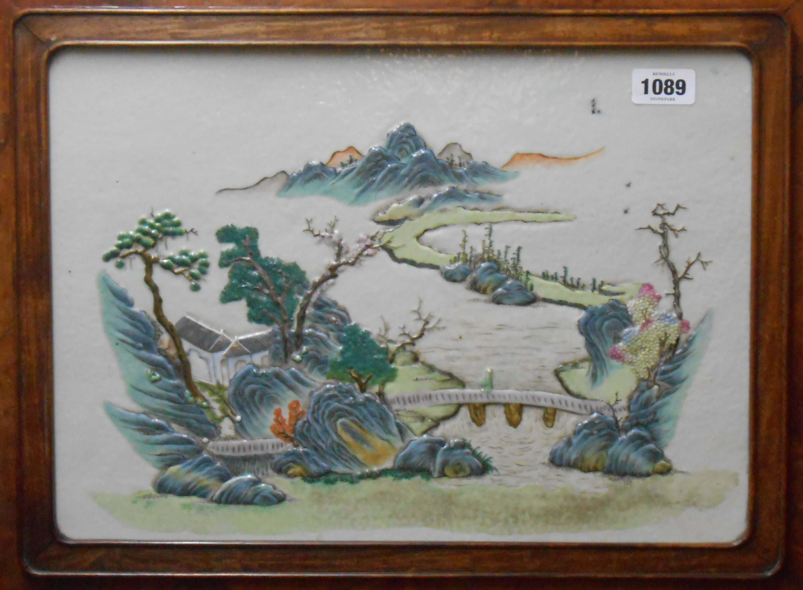 An early 20th Century Chinese table screen with central porcelain panel relief moulded with a - Image 3 of 9
